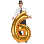 "Number 6 Gold Jumbo SuperShape Foil Balloons 33""/83cm w x 54""/137cm h L53 - 3 PC"
