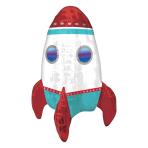 "Rocket Ship MultiBalloon Air Filled Foil Balloons 16""/40cm w x 21""/53cm h A70 - 5 PC"