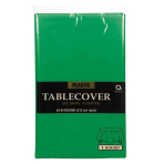 Festive Green Round Plastic Tablecovers 2.13m - 12 PC