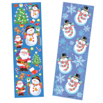 Christmas Sticker Strip Santa & Snowman - 12 PKG/8