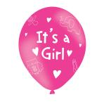 "It's A Girl Pink Latex Balloons 11""/27.5cm - 10 PKG/6"
