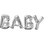 """Baby"" Phrase Silver SuperShape Foil Balloons 26""/66cm w x 9""/22cm h S55 - 5 PC"