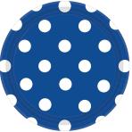 Bright Royal Blue Dots Paper Plates 18cm - 12 PKG/8