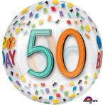 """Rainbow Happy 50th Birthday Clear Orbz Foil Balloons 15""""/38cm w x 16""""/40cm h G20 - 5 PC"""