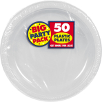 Silver Plastic Plates 18cm - 6 PKG/50