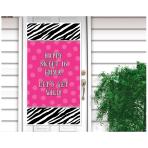 Zebra Party Door Decorations - Personalise it! 1.65m x 85cm - 12 PKG