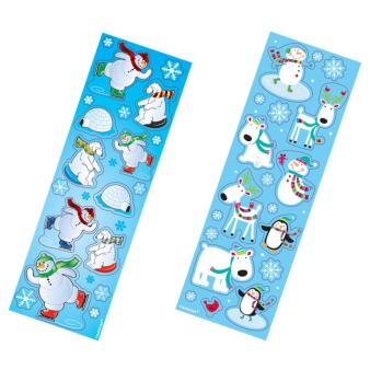 Joyful Snowman Winter Fun Printed Paper Strip Stickers - 12 PKG/8