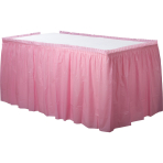 Baby Pink Plastic Tableskirts 73cm x 426cm - 6 PC