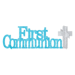 First Communion Blue Glitter Table Decorations - 12 PC