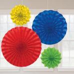 Rainbow Glitter Paper Fans - 6 PKG/4