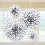 White Glitter Paper Fans - 6 PKG/4