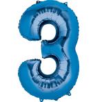"""Number 3 Blue Minishape Foil Balloons 16""""/""""40cm A04 - 5 PC"""