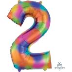 """Number 2 Rainbow Splash SuperShape Foil Balloons 20""""/50cm w x 35""""/88cm h P50 - 5 PC"""