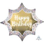 "Happy Birthday Satin Gold Burst SuperShape XL Foil Balloons 35""/88cm w x 29""/73cm h P35 - 5 PC"
