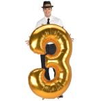 "Number 3 Gold Jumbo SuperShape Foil Balloons 32""/81cm w x 53""/134cm h L53 - 3 PC"