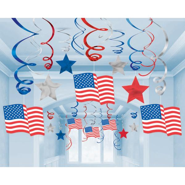 USA Mega Value Pack Hanging Swirl Decorations