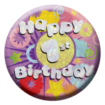 Happy 1st Birthday Badges Small 55mm Holographic - 12 PKG