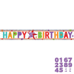 Happy Birthday Add an Age Holographic Foil Banner 2.7m - 12 PC
