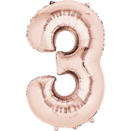 "Rose Gold Number 3 SuperShape Foil Balloons 21""/53cm w x 35""/88cm h P50 - 5 PC"