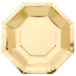 Metallic Gold Octagonal Plates 23cm - 6 PKG/8