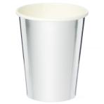 Metallic Silver Paper Cups 250ml - 6 PKG/8