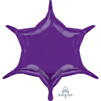 "Metallic Purple 6 Point Star Standard Unpackaged Foil Balloons w x 20""/50cm h D32 - 3 PC"