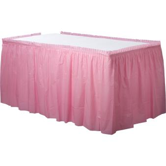 Baby Pink Plastic Tableskirt 73cm x 426cm - 6 PKG