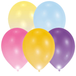 "LED Latex Balloons Assorted Colours 11""/27cm - 12 PKG/5"