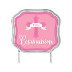 First Communion Pink Cake Topper 11cm x 10cm - 12 PC