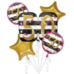 Pink & Gold 50th Birthday Foil Balloon Bouquets P75 - 3 PC