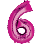 """Number 6 Pink Minishape Foil Balloons 16""""/""""40cm A04 - 5 PC"""