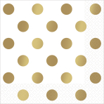 Metallic Gold Hot Stamped Luncheon Napkins 33cm - 12 PKG/16