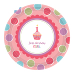 Sweet Little Cupcake Girl Paper Plates 17.8cm - 6 PKG/8 - Eco Party