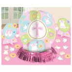 Pink Christening Table Decorating Kits - 9 PKG/4