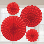 Apple Red Glitter Paper Fans - 6 PKG/4