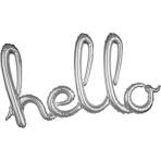 """Hello"" Script Phrase Silver Foil Balloons 39""/99cm x 22""/55cm G40- 5 PC"