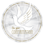 Confirmation Dove Paper Plates 23cm - 6 PKG/8