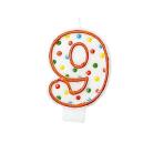 Polka Dots Birthday Candles Number 9 - 7.6cm 12 PKG