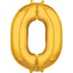 """Number 0 Gold SuperShape Mid-Size Foil Balloons 20""""/50cm w x 26""""/66cm h P31 - 5 PC"""