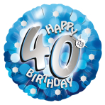 Blue Sparkle Party Happy Birthday 40th Standard Foil Balloons S40 - 5 PC