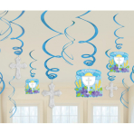 Communion Blue Swirls Decorations Pack - 6 PKG/12