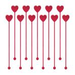 Heart Plastic Drink Stirrers 19cm - 12 PKG/12