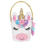 Easter Unicorn Felt Covered Baskets - 3 PC