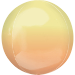 "Ombre Yellow & Orange Orbz Packaged Foil Balloons 15""/38cm w x 16""/40cm h G20 - 5 PC"
