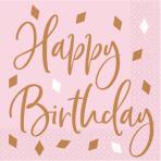 Rose Gold Happy Birthday Luncheon Napkins - 12 PKG/16