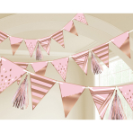 Rose Gold Pennant Flag Banners 2.75m - 6 PC