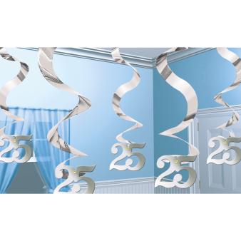 Silver Anniversary Wishes Streaming Swirls Decorations - 6 PKG/5
