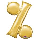"""Symbol % Gold SuperShape Foil Balloons 34""""/""""86cm P50 - 5 PC"""