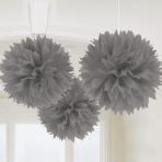 Silver Fluffy Pom Pom Decorations 40cm - 6 PKG/3