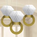 Honeycomb Ring Decorations 17cm - 6 PKG/3